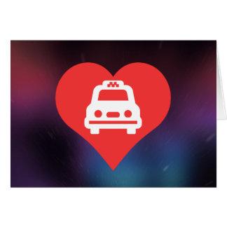 Amo el reservar de los taxis tarjeta de felicitación