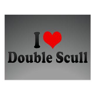 Amo el Scull doble Tarjetas Postales