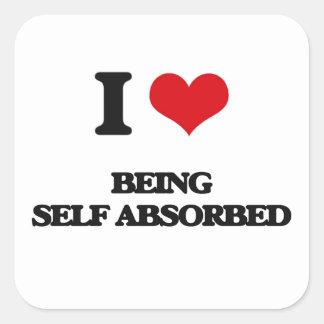 Amo el ser de auto-absorción pegatinas cuadradas