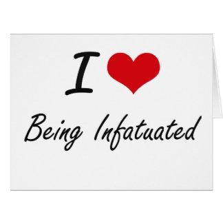 Amo el ser diseño artístico enamorado tarjeta de felicitación grande