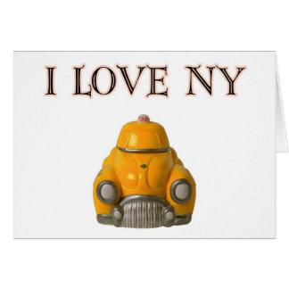 Amo el taxi a cuadros amarillo de Nueva York Felicitación