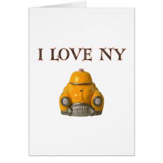 Amo el taxi a cuadros amarillo de Nueva York Tarjeta De Felicitación