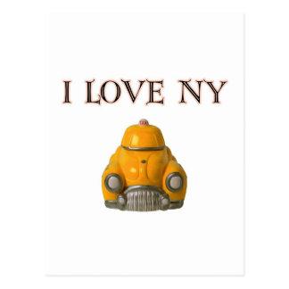 Amo el taxi a cuadros amarillo de Nueva York Postal