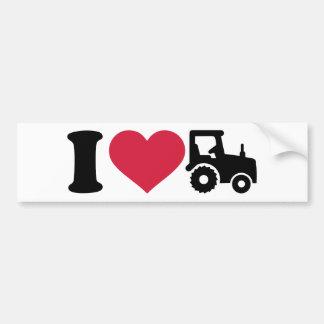 Amo el tractor pegatina para coche