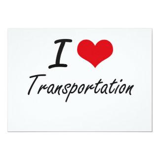 Amo el transporte invitación 12,7 x 17,8 cm