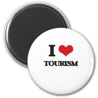 Amo el turismo imán redondo 5 cm