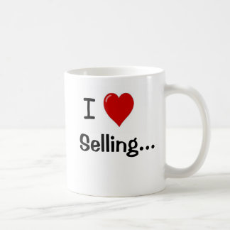 Amo el vender de lema y de la echada divertidos de taza de café