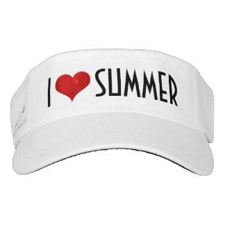 Amo el verano, visera negro blanco del corazón visera