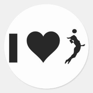 Amo el voleibol (femenino) pegatina redonda