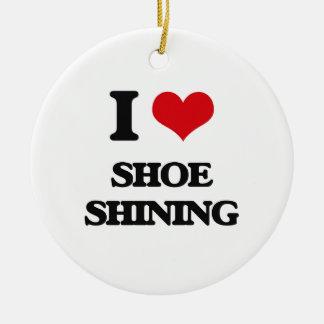 Amo el zapato que brilla adorno redondo de cerámica