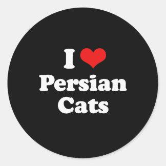 Amo gatos de la persona pegatina redonda