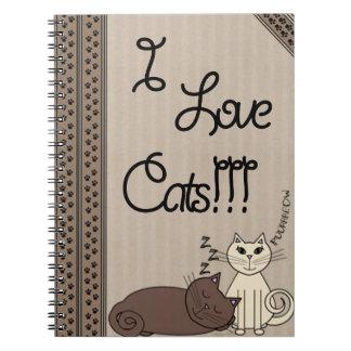 ¡Amo gatos!!! Libro De Apuntes Con Espiral