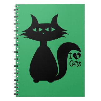 Amo gatos libro de apuntes con espiral