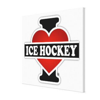 Amo hockey sobre hielo impresión de lienzo