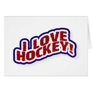 Amo hockey tarjeta de felicitación