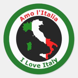 AMO ITALIA PEGATINA REDONDA
