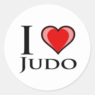 Amo judo etiquetas redondas