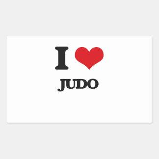 Amo judo rectangular pegatina