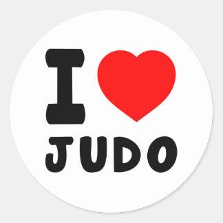 Amo judo etiqueta redonda
