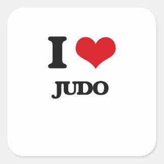 Amo judo calcomanías cuadradases