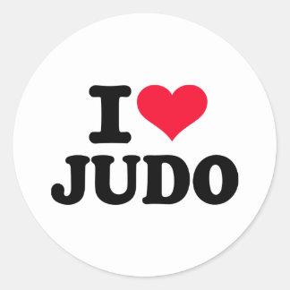 Amo judo pegatina redonda