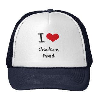 Amo la alimentación de pollo gorros bordados