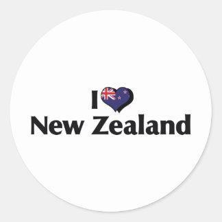Amo la bandera de Nueva Zelanda Pegatina Redonda