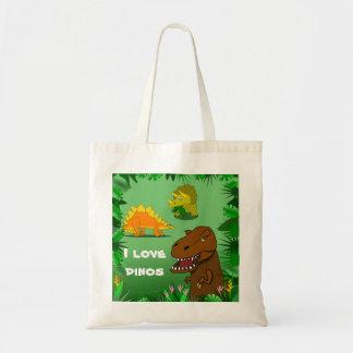 Amo la bolsa de asas reutilizable linda de los din