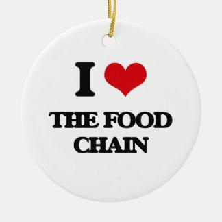 Amo la cadena alimentaria adorno redondo de cerámica
