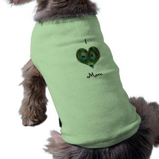 Amo la camisa del perro del corazón del pavo real