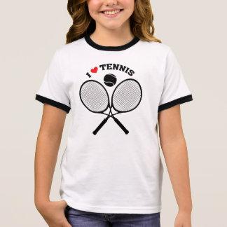 Amo la camiseta cruzada tenis del tenis de las