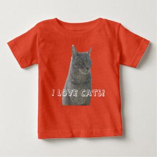 AMO la camiseta del bebé de los gatos