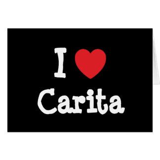 Amo la camiseta del corazón de Carita Tarjetas