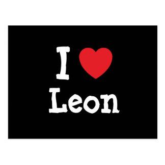 Amo la camiseta del corazón de León Postal