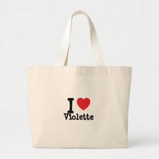 Amo la camiseta del corazón de Violette Bolsa Lienzo