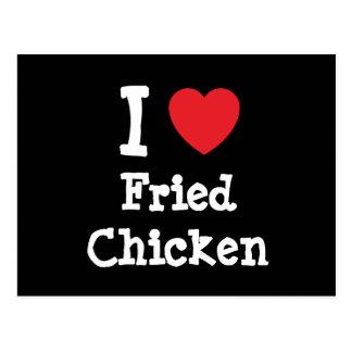 Amo la camiseta del corazón del pollo frito postal