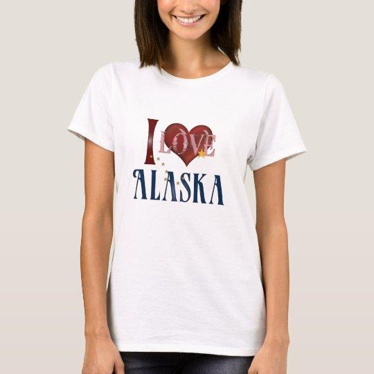Amo la camiseta del estado de Alaska