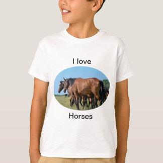 Amo la camiseta hermosa del caballo de bahía de