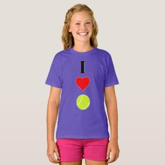 Amo la camiseta vertical de los chicas del tenis