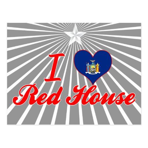 Amo la casa roja, Nueva York Tarjeta Postal