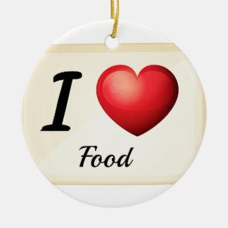Amo la comida adorno redondo de cerámica