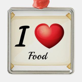 Amo la comida adorno cuadrado plateado