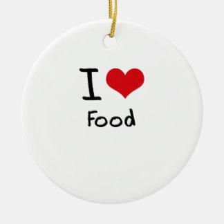 Amo la comida ornamentos de navidad