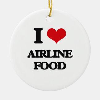 Amo la comida de la línea aérea adorno redondo de cerámica