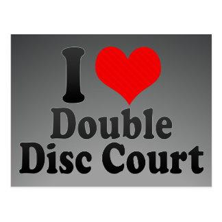 Amo la corte doble del disco tarjeta postal