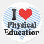 Amo la educación física pegatinas redondas