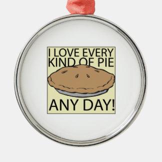 Amo la empanada adorno navideño redondo de metal