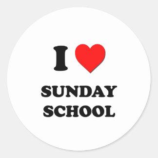 Amo la escuela dominical pegatina redonda