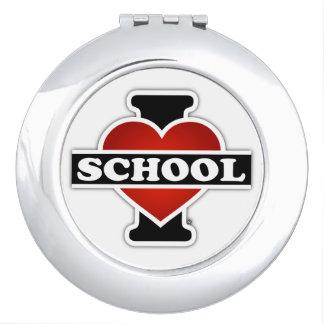 Amo la escuela espejos para el bolso