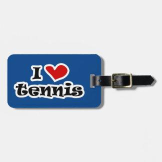 Amo la etiqueta del equipaje del viaje del tenis